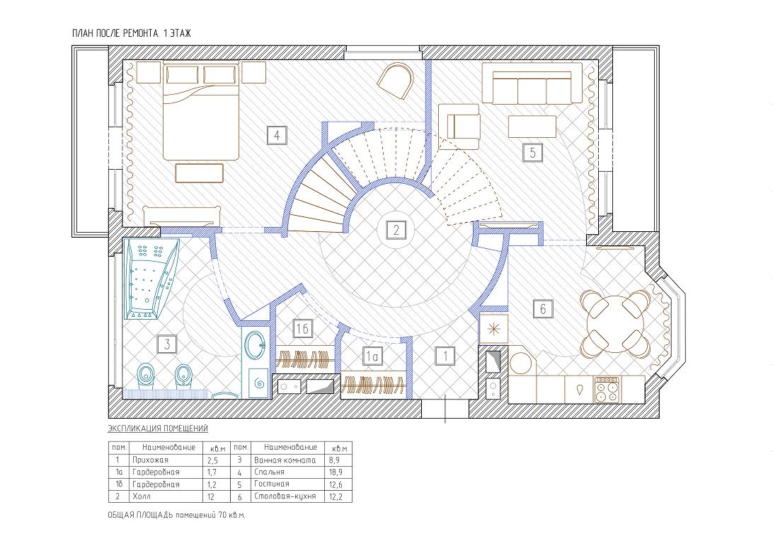 План 1 этажа ЖК Горки-8